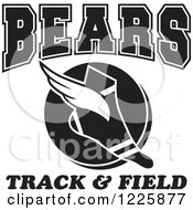 Clipart Of A Black And White Winged Shoe With Bears Team Track And Field Text Royalty Free Vector Illustration