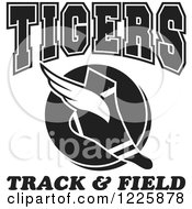 Clipart Of A Black And White Winged Shoe With Tigers Team Track And Field Text Royalty Free Vector Illustration