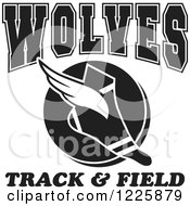 Clipart Of A Black And White Winged Shoe With Wolves Team Track And Field Text Royalty Free Vector Illustration