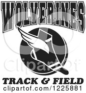 Clipart Of A Black And White Winged Shoe With Wolverines Team Track And Field Text Royalty Free Vector Illustration