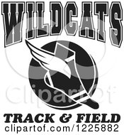 Clipart Of A Black And White Winged Shoe With Wildcats Team Track And Field Text Royalty Free Vector Illustration