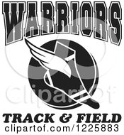 Clipart Of A Black And White Winged Shoe With Warriors Team Track And Field Text Royalty Free Vector Illustration
