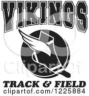 Clipart Of A Black And White Winged Shoe With Vikings Team Track And Field Text Royalty Free Vector Illustration