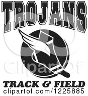 Clipart Of A Black And White Winged Shoe With Trojans Team Track And Field Text Royalty Free Vector Illustration
