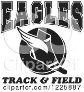 Clipart Of A Black And White Winged Shoe With Eagles Team Track And Field Text Royalty Free Vector Illustration
