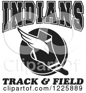 Clipart Of A Black And White Winged Shoe With Indians Team Track And Field Text Royalty Free Vector Illustration