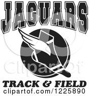 Clipart Of A Black And White Winged Shoe With Jaguars Team Track And Field Text Royalty Free Vector Illustration