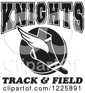 Clipart Of A Black And White Winged Shoe With Knights Team Track And Field Text Royalty Free Vector Illustration