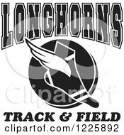 Clipart Of A Black And White Winged Shoe With Longhorns Team Track And Field Text Royalty Free Vector Illustration