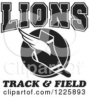 Clipart Of A Black And White Winged Shoe With Lions Team Track And Field Text Royalty Free Vector Illustration
