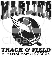Clipart Of A Black And White Winged Shoe With Marlins Team Track And Field Text Royalty Free Vector Illustration