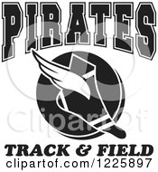 Clipart Of A Black And White Winged Shoe With Pirates Team Track And Field Text Royalty Free Vector Illustration