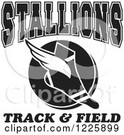 Clipart Of A Black And White Winged Shoe With Stallions Team Track And Field Text Royalty Free Vector Illustration