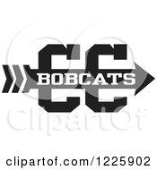 Clipart Of A Bobcats Team Cross Country Running Arrow Design In Black And White Royalty Free Vector Illustration by Johnny Sajem