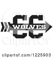 Clipart Of A Wolves Team Cross Country Running Arrow Design In Black And White Royalty Free Vector Illustration by Johnny Sajem