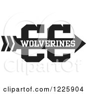 Clipart Of A Wolverines Team Cross Country Running Arrow Design In Black And White Royalty Free Vector Illustration by Johnny Sajem
