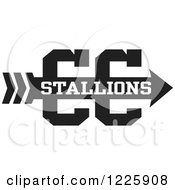Clipart Of A Stallions Team Cross Country Running Arrow Design In Black And White Royalty Free Vector Illustration by Johnny Sajem