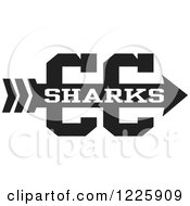 Clipart Of A Sharks Team Cross Country Running Arrow Design In Black And White Royalty Free Vector Illustration by Johnny Sajem