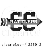 Clipart Of A Rattlers Team Cross Country Running Arrow Design In Black And White Royalty Free Vector Illustration by Johnny Sajem