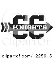 Clipart Of A Knights Team Cross Country Running Arrow Design In Black And White Royalty Free Vector Illustration by Johnny Sajem