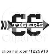 Clipart Of A Tigers Team Cross Country Running Arrow Design In Black And White Royalty Free Vector Illustration by Johnny Sajem