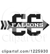 Clipart Of A Falcons Team Cross Country Running Arrow Design In Black And White Royalty Free Vector Illustration