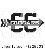 Clipart Of A Cougars Team Cross Country Running Arrow Design In Black And White Royalty Free Vector Illustration