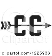 Clipart Of A CC Cross Country Running Arrow Design In Black And White Royalty Free Vector Illustration