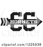 Clipart Of A Hornets Team Cross Country Running Arrow Design In Black And White Royalty Free Vector Illustration