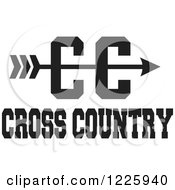 Clipart Of A CC Arrow With Cross Country Running Text In Black And White Royalty Free Vector Illustration by Johnny Sajem