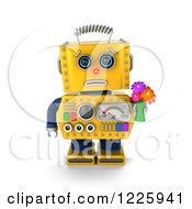 Clipart Of A 3d Apologetic Yellow Retro Robot Holding Flowers Royalty Free Illustration