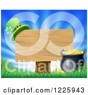 Clipart Of A St Patricks Day Leprechaun Hat On A Wooden Sign Over Sunshine Royalty Free Vector Illustration by AtStockIllustration