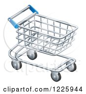 Clipart Of A 3d Silver Shopping Cart Royalty Free Vector Illustration