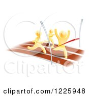 Clipart Of 3d Gold Men Racing One Rushing Through The Finish Line Royalty Free Vector Illustration