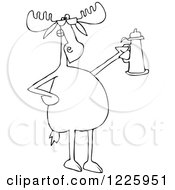 Clipart Of An Outlined Moose Wearing Sunglasses And Holding A Beer Stein Royalty Free Vector Illustration