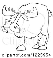 Clipart Of An Outlined Snorting Angry Moose Royalty Free Vector Illustration