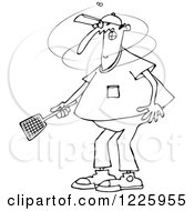 Clipart Of An Outlined Man Trying To Kill A Fly With A Swatter Royalty Free Vector Illustration by djart