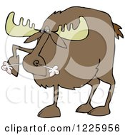 Clipart Of A Snorting Angry Moose Royalty Free Vector Illustration