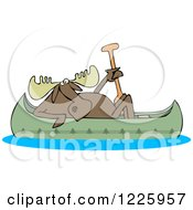 Clipart Of A Moose In A Canoe Royalty Free Vector Illustration by djart