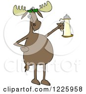 Clipart Of A Moose Wearing Sunglasses And Holding A Beer Stein Royalty Free Vector Illustration