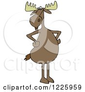 Clipart Of A Moose Standing Upright With His Hooves On His Hips Royalty Free Vector Illustration