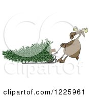 Clipart Of A Moose Pulling A Christmas Tree Ona Sled Royalty Free Illustration