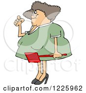 Clipart Of An Annoyed Caucasian Woman Holding A Fly Swatter Royalty Free Vector Illustration by Dennis Cox