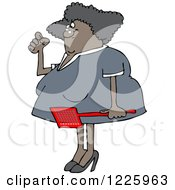 Clipart Of An Annoyed Black Woman Holding A Fly Swatter Royalty Free Vector Illustration by djart