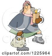 Clipart Of A Chubby Caucasian Woman Carrying Grocery Bags Royalty Free Vector Illustration by djart