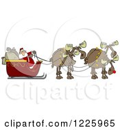 Team Of Christmas Moose Pulling Santa In A Sleigh