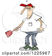 Clipart Of A Caucasian Man Trying To Kill A Fly With A Swatter Royalty Free Vector Illustration by djart