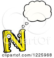 Clipart Of A Thinking Letter N Monster Royalty Free Vector Illustration by lineartestpilot