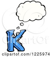 Clipart Of A Thinking Letter K Monster Royalty Free Vector Illustration by lineartestpilot