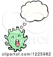 Clipart Of A Thinking Green Germ Royalty Free Vector Illustration by lineartestpilot
